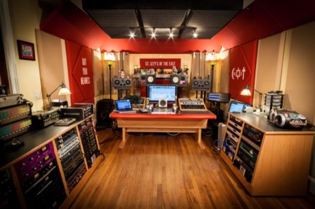 "A view of music mixer Shane D. Wilson's studio, ""St. Izzy's of the East,"" featuring acoustical treatment solutions from Auralex® Acoustics."