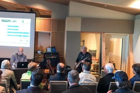 Sweetwater Studio's Mark Hornsby (left) and Don Felder (right) take workshop attendees through Hotel California during the sold-out Recording Master Class.