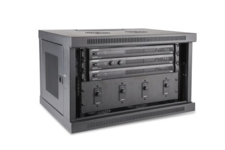 New Bose PowerShare amplifiers racked with accompanying ControlCenter zone controllers.