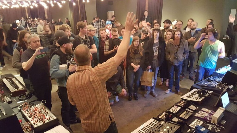David Barker speaks to synth enthusiasts at the Seattle Synth Meet presented by Patchwerks.